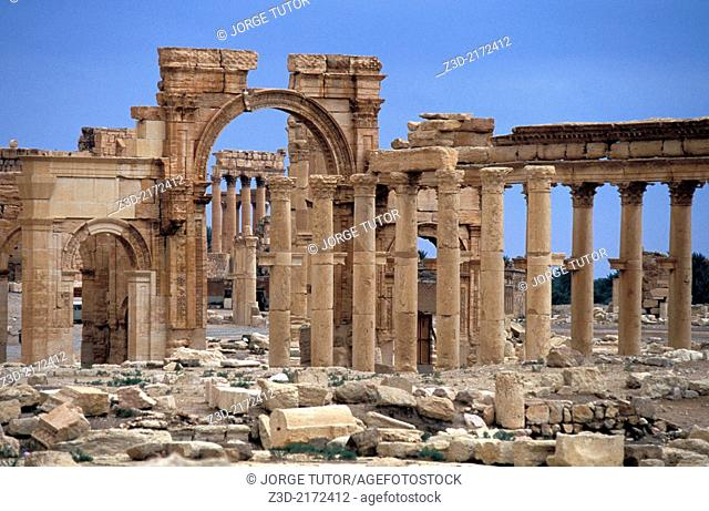 Monumental arch, Great Colonnade. Palmyra. Syria