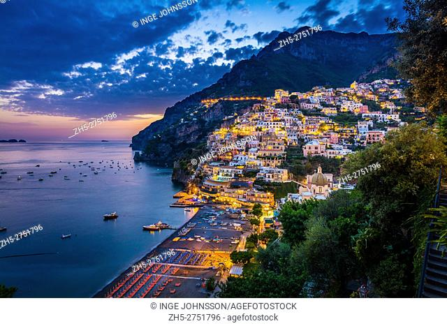 Positano is a village and comune on the Amalfi Coast (Costiera Amalfitana), in Campania, Italy, mainly in an enclave in the hills leading down to the coast