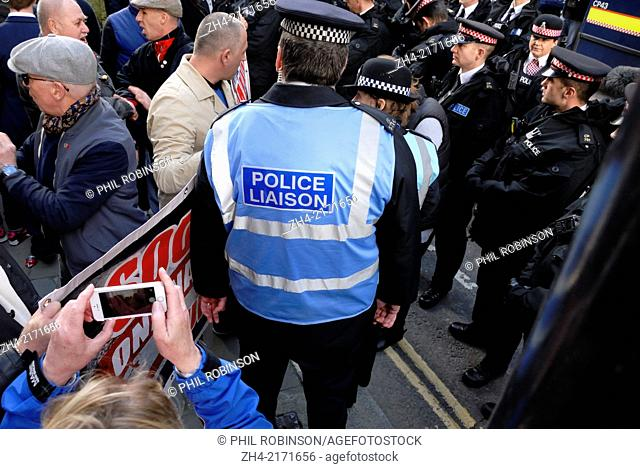 Police Liaison Officer between police and demonstrators at the Lee Rigby Murder Trial Sentencing - Old Bailey 26 Feb. Right-wing groups campaigning for...