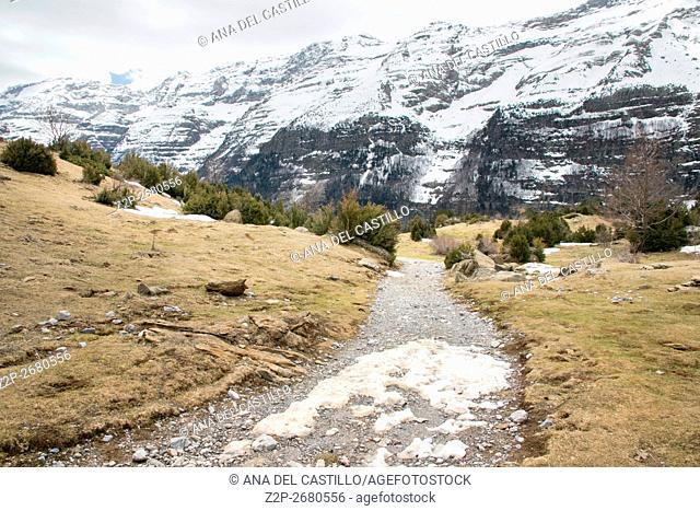 Nice view on high mountains covered with snow Pineta valley Huesca Aragon Spain. La Larri high plateau