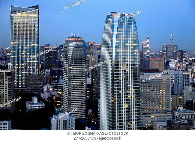 Japan, Tokyo, skyline, Atago Green Hills and Mori Towers,