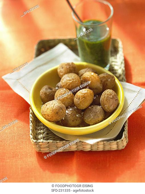 Wrinkled potatoes with salt and herb sauce