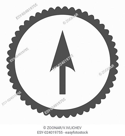 Arrow Axis Y flat gray color round stamp icon