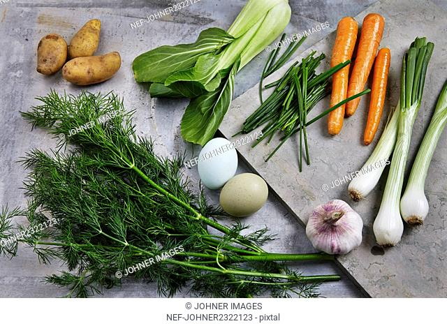 Vegetables and eggs