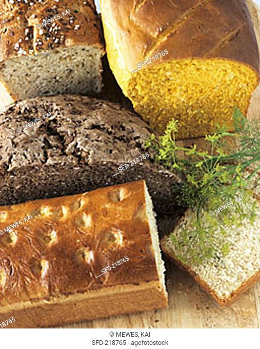 Saffron bread, elderflower bread, caraway bread & spring bread