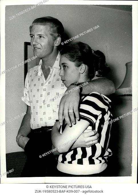 May 23, 1958 - 22 Year-Old American Rock 'N Roll Singer Arrives Here With His 15 Year Old Wife; Jerry Lee Lewis, the American rock ' n roll singer