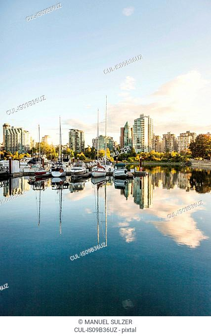 View of city skyscrapers and marina, Vancouver, Canada