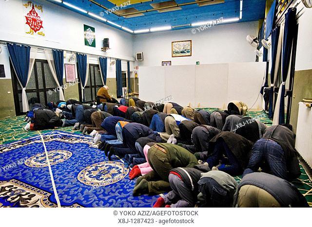 The afternoon prayer  Al-Rahmàn Mosque, Segrate, Italy