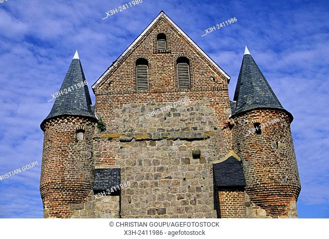 fortified church Saint-Nicolas of Englancourt in the Thierache region, Aisne department, Picardy region, northern France, Europe