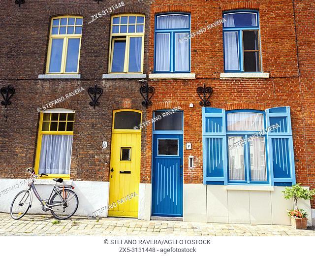 Colourful building facade in Coupure street - Bruges, Belgium