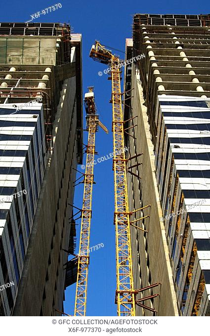 Construction site of the Acico Twin Towers in Sheikh Zayed Road, Dubai, United Arab Emirates