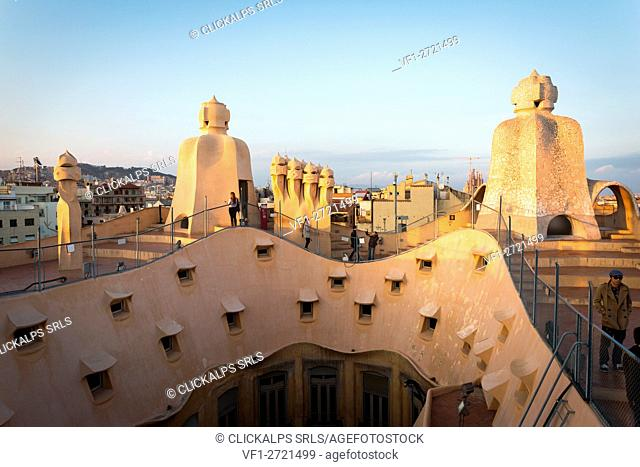 Barcelona, Spain, La Pedrera rooftop, designed by Antonio Gaudi
