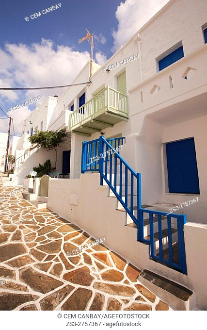 Whitewashed houses with colorful railings and windows at the old town Chora or Chorio, Kimolos, Cyclades Islands, Greek Islands, Greece, Europe