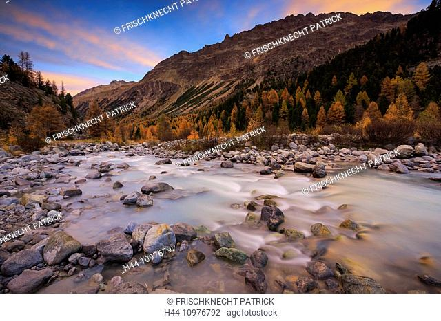 Alpine, panorama, view, mountain, mountains, massif, cliff, river, flow, mountains, Graubünden, Grisons, autumn, colors, larch, larches, morning, daybreak