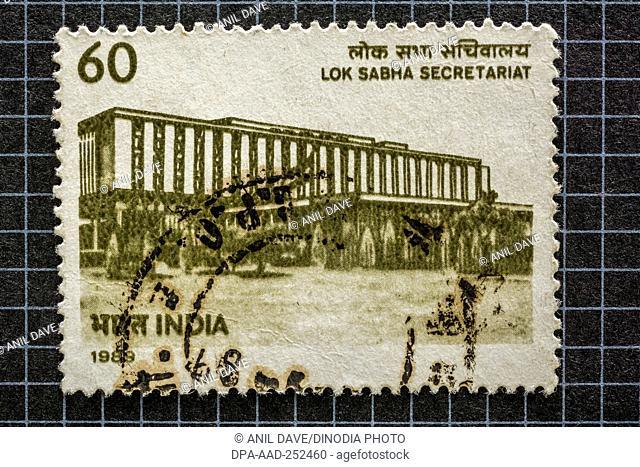 Lok sabha secretariat, postage stamps, india, asia
