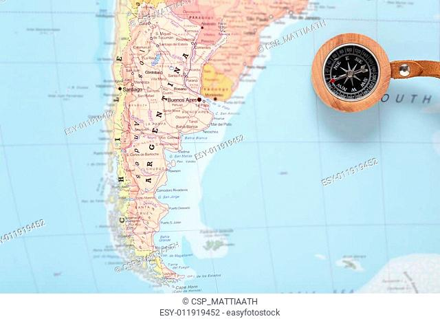 Travel destination Argentina, map with compass