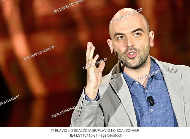 The journalist and writer Roberto Saviano during his speech at tv programme Che tempo che fa, Milan, ITALY-10-04-2016