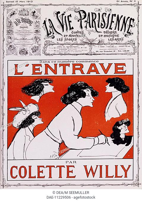 Caricature of Colette Willy, pseudonym of Sidonie-Gabrielle Colette (Saint-Sauveur-en-Puisaye, 1873-Paris, 1954), French writer