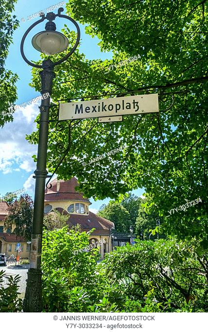 Signage at Mexikoplatz square in the Zehlendorf part of Berlin, Germany