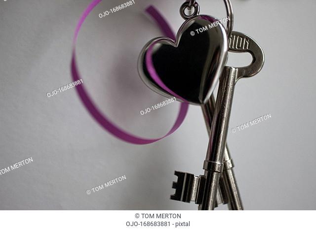 Keys with heart-shaped keychain