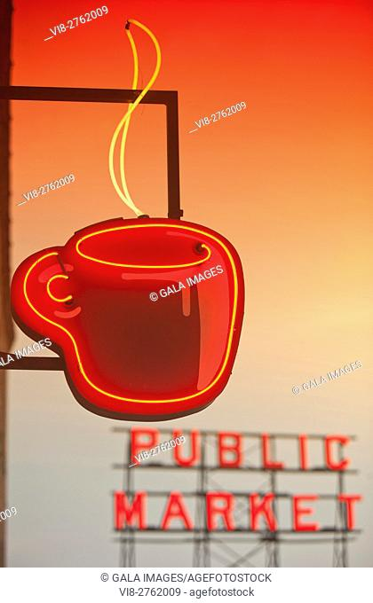 POST ALLEY COFFEE SHOP NEON CUP SIGN PIKE PLACE PUBLIC MARKET WATERFRONT SEATTLE WASHINGTON STATE USA