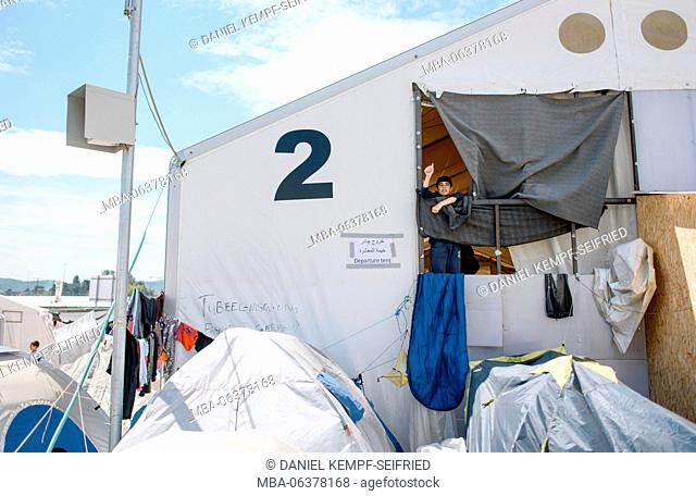 Tent for departure and registration in Greece. refugee camp of Idomeni in Greece at the frontier to Macedonia, April, 2016