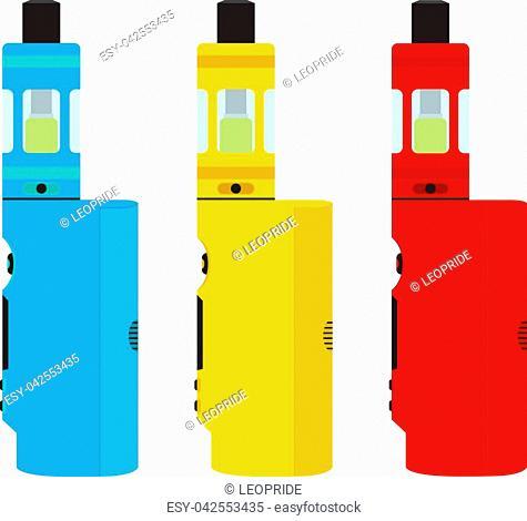 Vape devices set. Vaping culture, smoking. Vapor vaping. Flat vector design