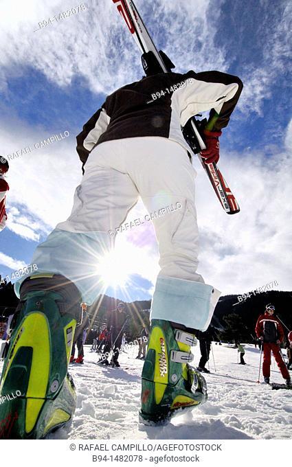 Skier. La Molina ski resort, Cerdanya, Girona province, Catalonia, Spain