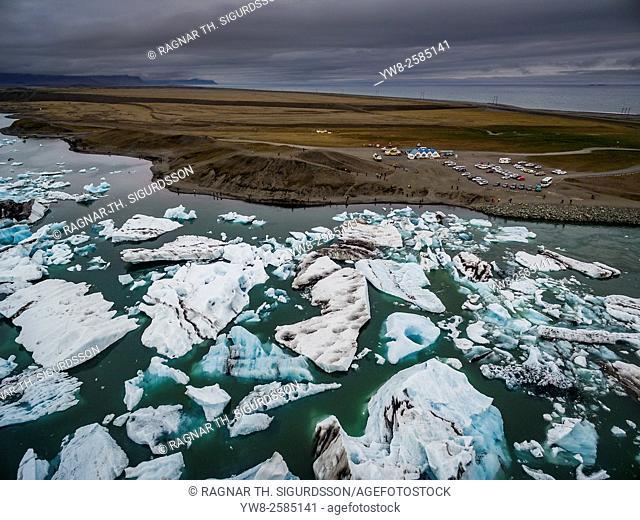 Icebergs - Jokulsarlon Glacial Lagoon, Breidamerkurjokull Glacier, Vatnajokull Ice Cap, Iceland. Image shot with a drone