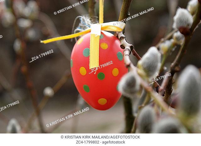 Easter egg hanging outside