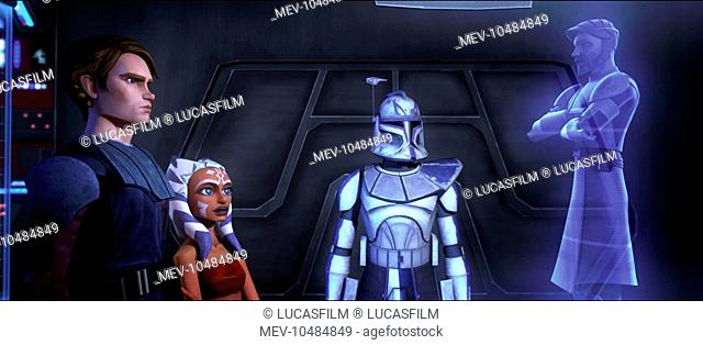 STAR WARS: THE CLONE WARS Anakin Skywalker, his Padawan learner Ahsoka and a Clone Trooper communicate with Obi -Wan Kenobi