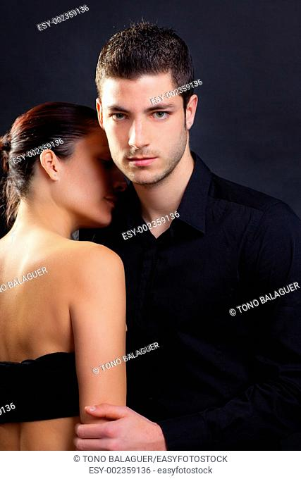 Couple in love with handsome man and rear profile woman nude back