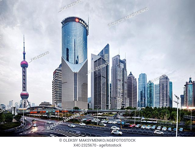 The Oriental Pearl Tower and modern buildings in Lujiazui, Pudong, Shanghai, China 2014