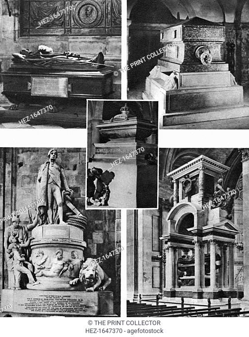 'Britain's glorious dead honoured by tomb and monument in St Paul's Cathedral', 1926-1927. Lord Nelson's monument and sarcophagus, Wellington's memorial