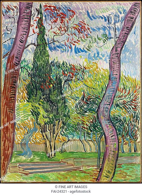 Parc de l'hôpital Saint-Paul. Gogh, Vincent, van (1853-1890). Oil on canvas. Postimpressionism. 1889. Holland. Private Collection. 67x51,5. Landscape
