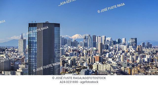 Japan, Tokyo City, Shinjuku Skyline and Mount Fuji, panorama