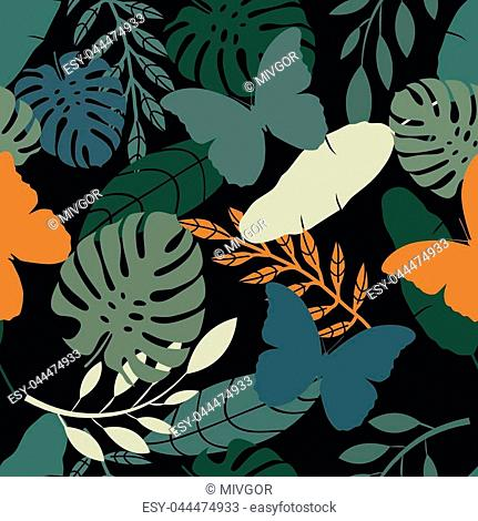 Seamless tropical vector pattern with butterflies and exotic palm leaves on dark background