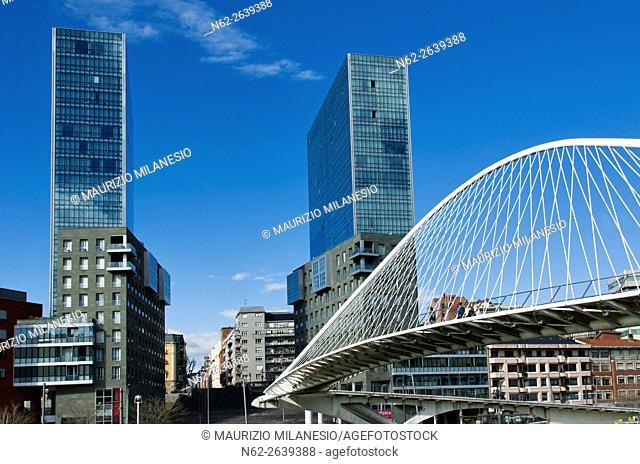 Zubizuri Bridge, in Bilbao, Biscay, Basque Country, Spain, it is a modern arch bridge that hangs over the river Nervin, create by Santiago Calatrava