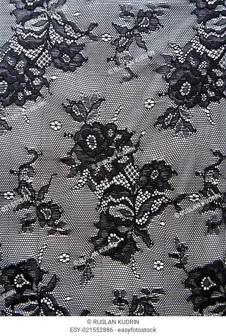 Black lace with pattern from flower