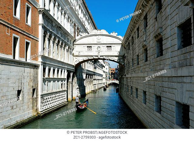 Venice, Veneto, Italy - September 6, 2016: Bridge of Sighs between the Doge's Palace and the prison Prigioni Nuove of Venice in Italy - Ponte dei Sospiri