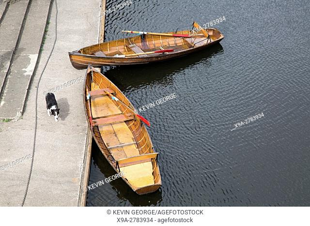 Punts and Rowing Boat from Elvet Bridge, Durham; England, UK
