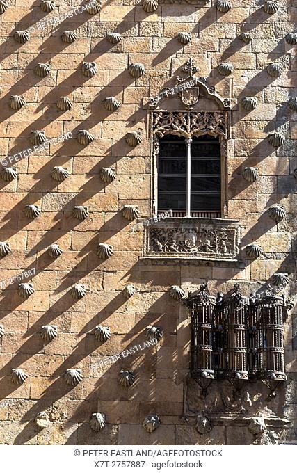 Wrought iron windows and decorative stone work on The 16th cen. Casa De Las Conchas, Salamanca, Spain