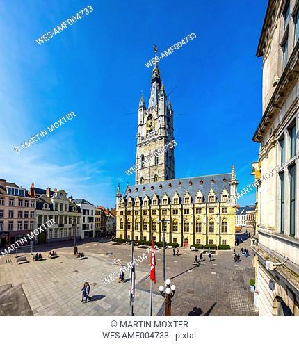 Belgium, Flanders, Ghent, Sint-Baafsplein, Cloth hall and belfry