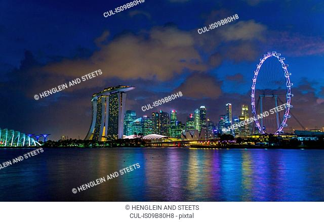 Marina Bay skyline at night, Singapore, South East Asia
