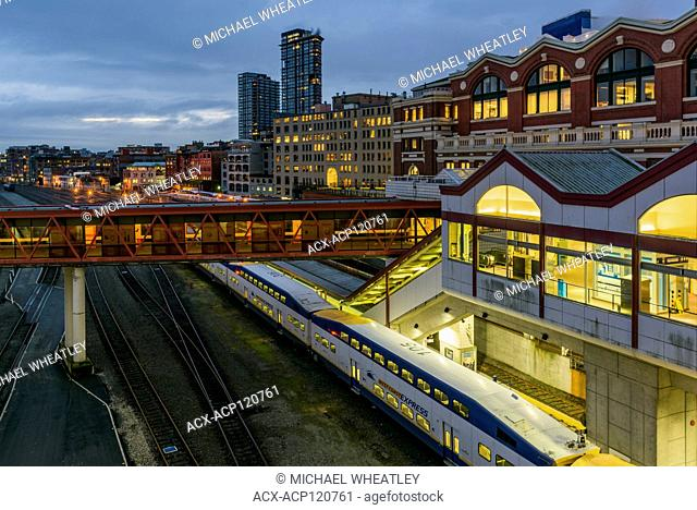 West Coast Express Commuter Train, Waterfront Station, Vancouver, British Columbia, Canada