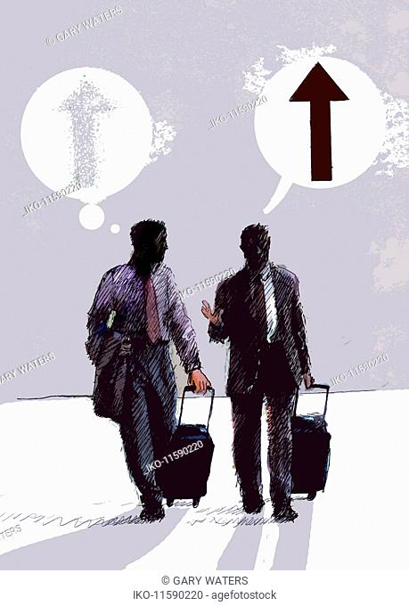Businessmen pulling suitcases talking with speech and thought bubbles and ascending arrows