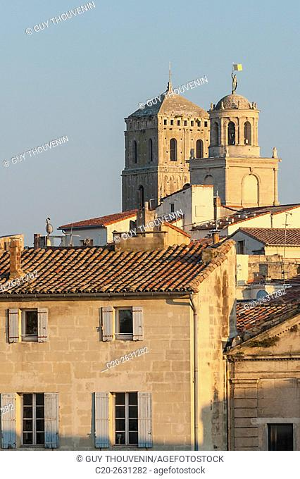 Saint Trophime church tower and Mejan quarter seen from Trinquetailles, acroos Rhone river, Arles, 13, Provence, France