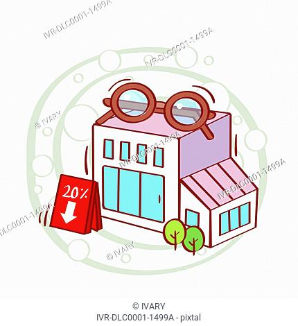 Illustration of optical shop