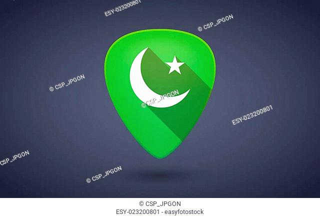 Green guitar pick icon with an islam sign