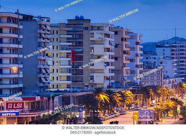 Albania, Vlora, buildings along Sadik Zoltaj Street, dawn